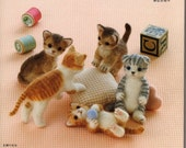 Needle Felt Cute Cats PDF Patterns, Kawaii Ebook, Japanese Book, Free Shipping No. 11