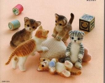 Needle Felt Cute Cats PDF Patterns, Kawaii Ebook, Japanese Book, Free Shipping No. 11