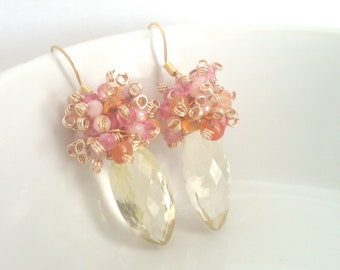 Tropical Fruit Sizzle, Lemon Quartz and Pink Opal, Mystic Topaz, and Carnelian Cluster Earrings
