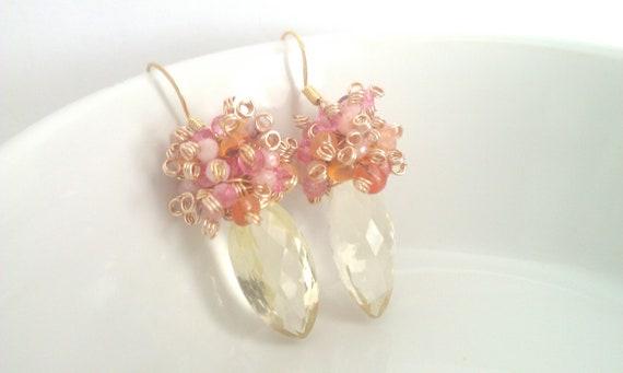 Tropical Fruit Sizzle, Lemon Quartz and Pink Opal, Mystic Topaz, and Carnelian Cluster Earrings