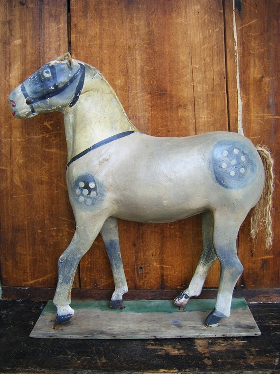 Antique 1800's Horse, Hand Painted Paper Mache and Wood