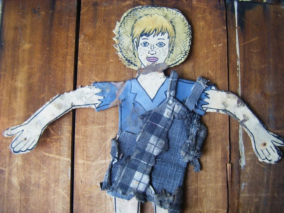 Vintage Fence Folk Art, Hand Painted Tin Boy with Shabby Clothes