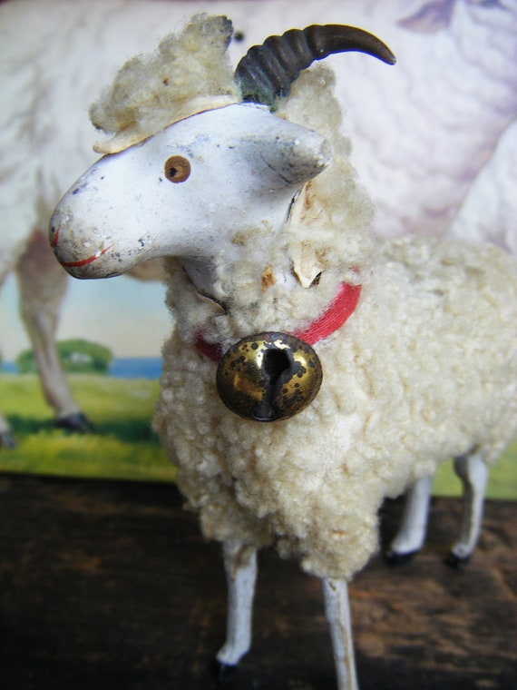Antique 1920's GERMAN WOOLY SHEEP with Horns, Hand Painted,  for Putz or Christmas Nativity