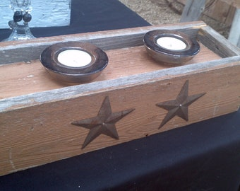 Barnwood Candle Holder Display -Brown with stars