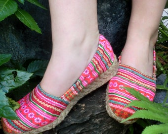 Colorful Striped Vegan Loafers In Hmong Embroidery- Chloe