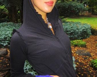 Black lotus ruffle hoodie