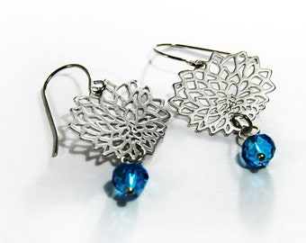 Silver Mum Earrings Blue Beaded Dangle