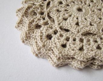 Crochet Coaster Cream Beige - Set of 4
