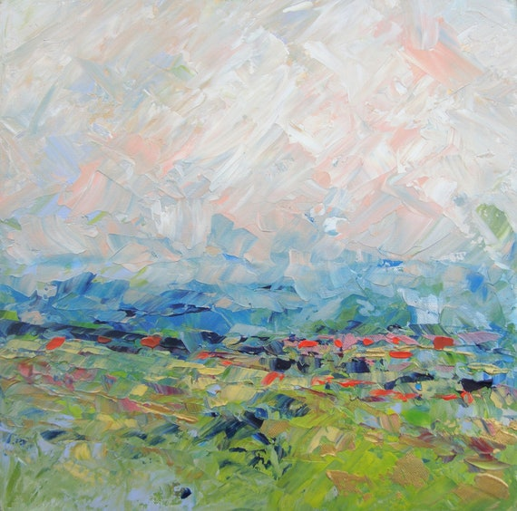 Abstract Landscape - acrylic painting on canvas - size 40cm x 40cm