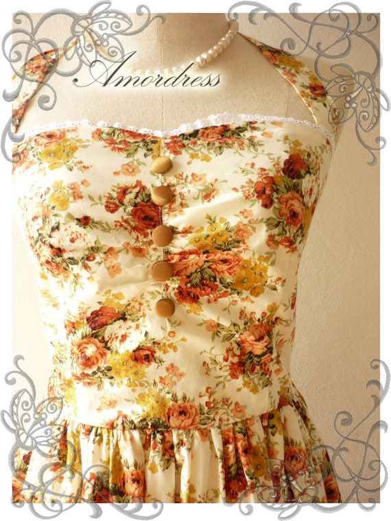 Once Upon A Time Vintage 50's Inspired Party Halter Neck Gorgeous Autumn Romance Tangerine  Little While Lace Dress -Size M-