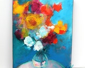 "Colorful Contemporary Abstract Floral Painting on Small Canvas ""Summer Symphony"""