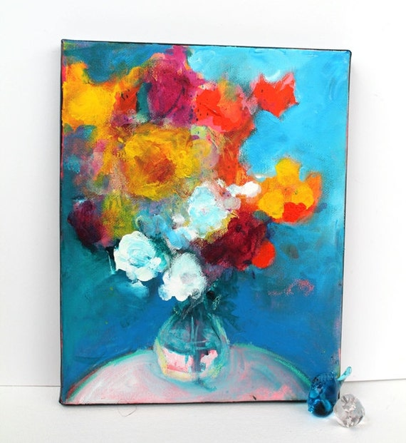 """Colorful Contemporary Abstract Floral Painting on Small Canvas """"Summer Symphony"""""""