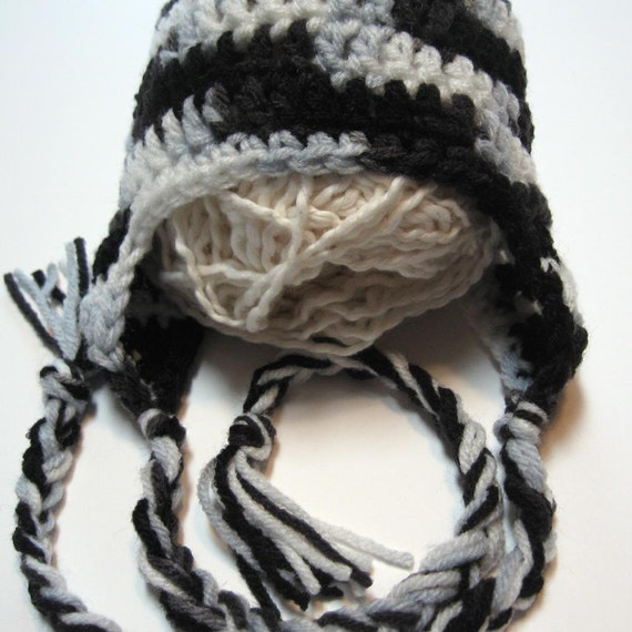 Newborn crochet ear flap hat.  Shades of black and grey.  Ready to ship.  Photo prop.