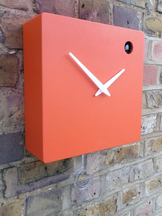 Modern orange cuckoo clock with moving bird &  pendulum RESERVED