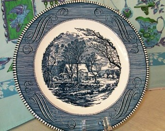 Vintage Collector Plate, The Old Grist Mill, Currier and Ives By Royal, Made in USA