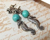 Sterling Silver Seahorse and Turquoise Dangle