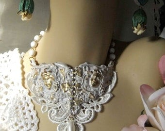 White Patina Ornate Brass, Venetian Lace, Rhinestones and Vintage Rosary Chain and Teardrop Glass Pearl