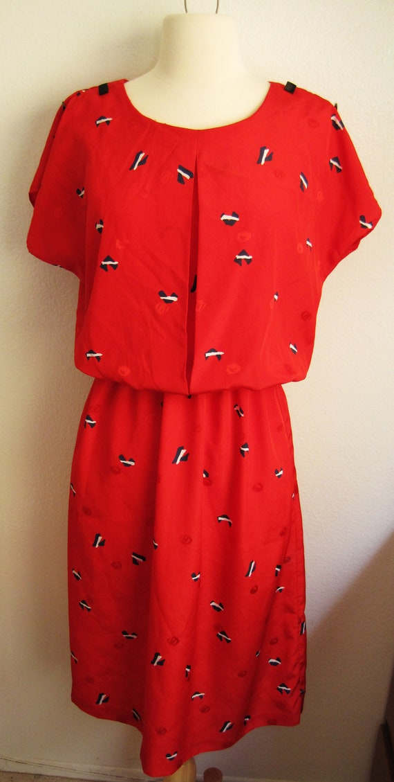 Vintage Red Print Dress