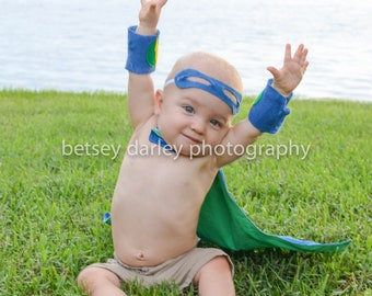 Upcycled Baby Super Hero Cape: My Favorite Things Collection Newborn-24 months