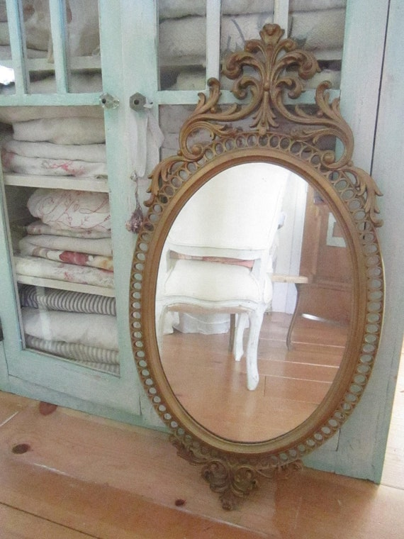 RESERVED for Shelly Vintage french  mirror  gesso shabby chic cottage chic