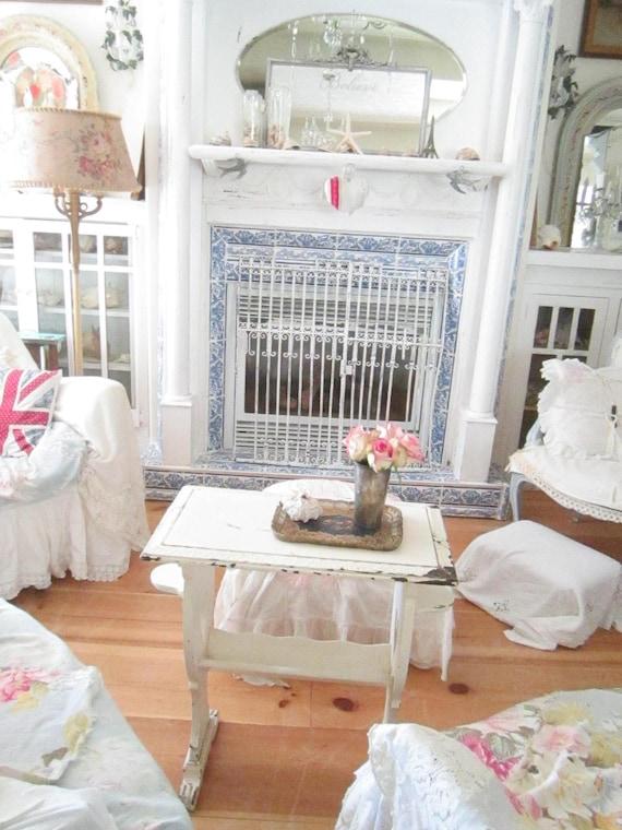 SALE chippy white  french table  shabby chic prairie bohemian