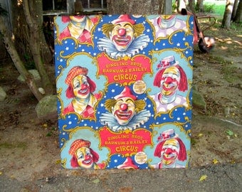 60s OOAK Ringling Brothers Barnum and Bailey Circus Cloth Wall Hanging 38 x 44 1/2