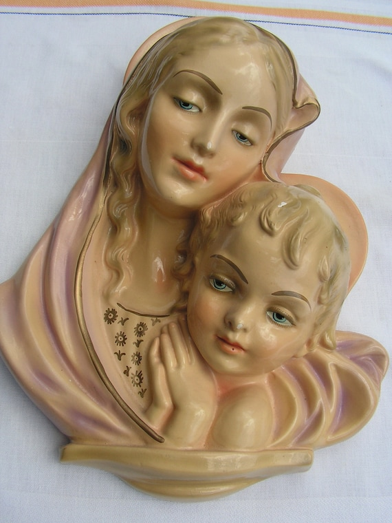 RESERVED 40s Madonna and Child Hanging Statuary Religious Plaster Plaque