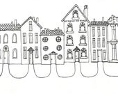 Row House Original Ink Drawing