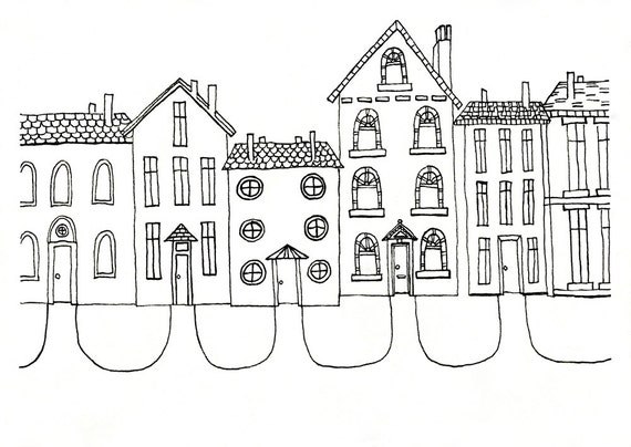 Items similar to Row Houses Illustration - Art Print for ...