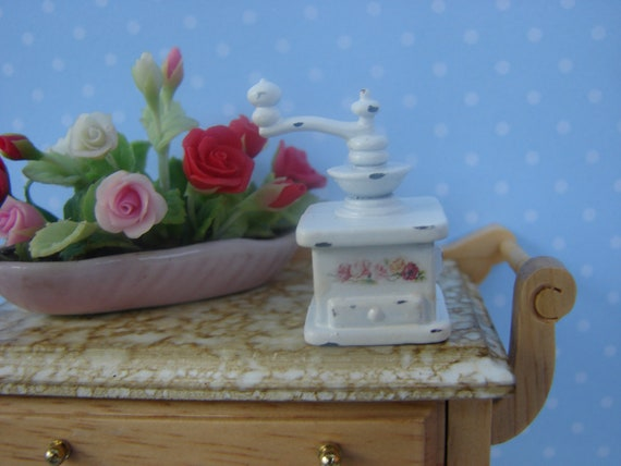 RESERVED FOR BECKY G. Dollhouse Miniature Coffee Grinder White with Pink Roses Shabby Chic