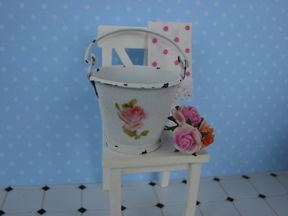 Dollhouse Miniature Shabby Chic Cottage Chic White Metal Bucket Pail with Pink Rose Vintage Style
