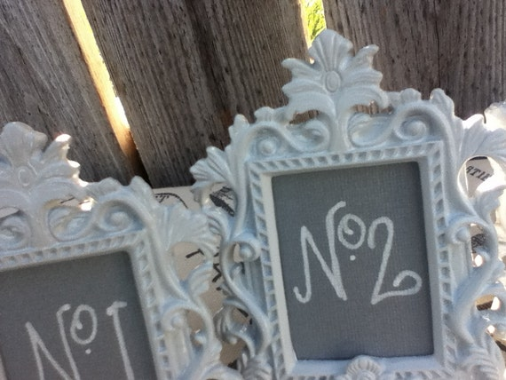 12 vintage style Table Numbers - ornate - easel back  - wedding reception sign