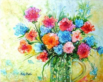 Flowers, Vase,  Bouquet - ready to hang - Modern Home - Original  Fine Art Watercolor Painting by ebsq Artist Ricky Martin  FREE SHIPPING