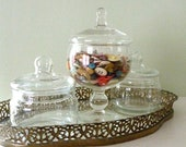 RESERVED :  ready made dresser set, 3 apothecary jars ( buttons not included)