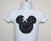 Minnie Mouse Inspired Appliqued Onesie with Bow  Made to Order 0-3 months to 24 months Ships within 24-48 hours