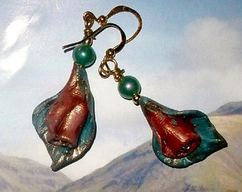 Rosebud earrings hand sculpted polymer clay