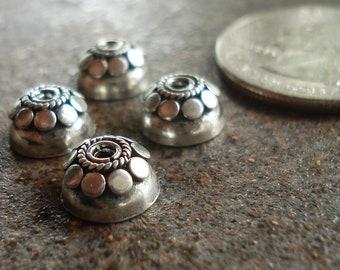 Oxidized Bali Sterling Silver Bead Cap 5 x 9 mm, pkg of 4