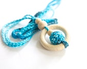 Teething rings nursing necklace with wooden crochet balls, aqua blue teething toy.