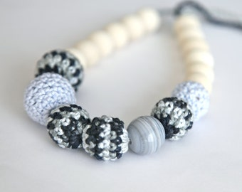 Monochrome. Wrap Baby Carrier Sling Accessory,crochet necklace with natural stone, ready to ship.