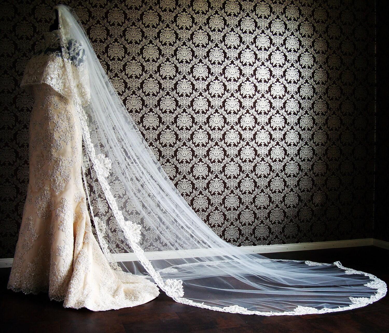 Luxury Wedding Grand Cathedral Jeweled Beaded Bridal Veil