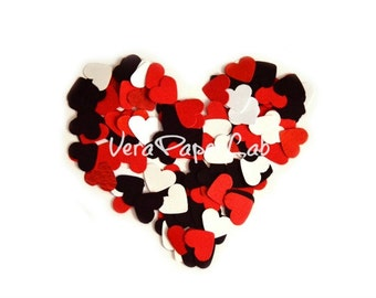 Hearts punches in red, black and white - confetti