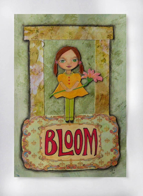Postcard - Mixed Media Collage Art - Painted Girl - Spring Time - Bloom - Handmade Postcard - Original Art - 4 x 6