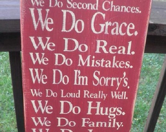 family rules,we do Grace, Family Rules, Primitive, Version 3, Subway Art, Typography, Distressed, Sign, Decor