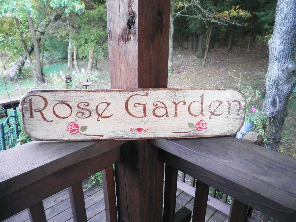 Primitive countr ywood sign rose garden sign primitive sign for Outdoor decorative signs