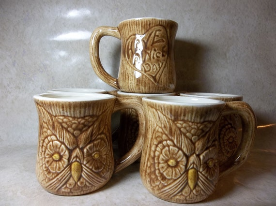 """Vintage """"Have A Nice Day"""" Owl Mugs- Set of 6"""