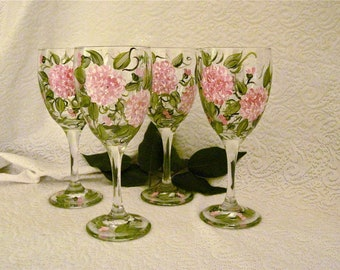 Pink hydrangeas hand painted on set of four wine glasses