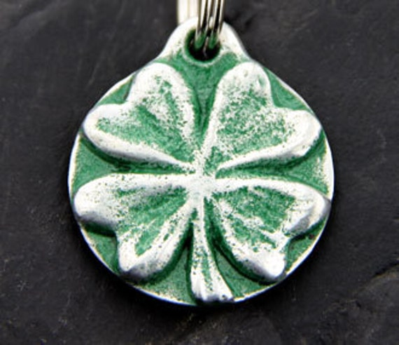 Gifts for Pets Dog Tag Pet Id Tag Dog Collar Tag Shamrock Custom Handmade Personalized