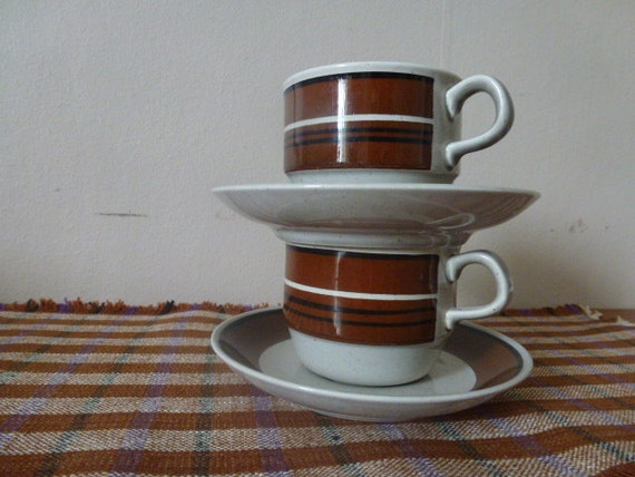 ON HOLD ////////////// Vintage Rörstrand Sweden cups and saucers / Isolde by Jackie Lynd