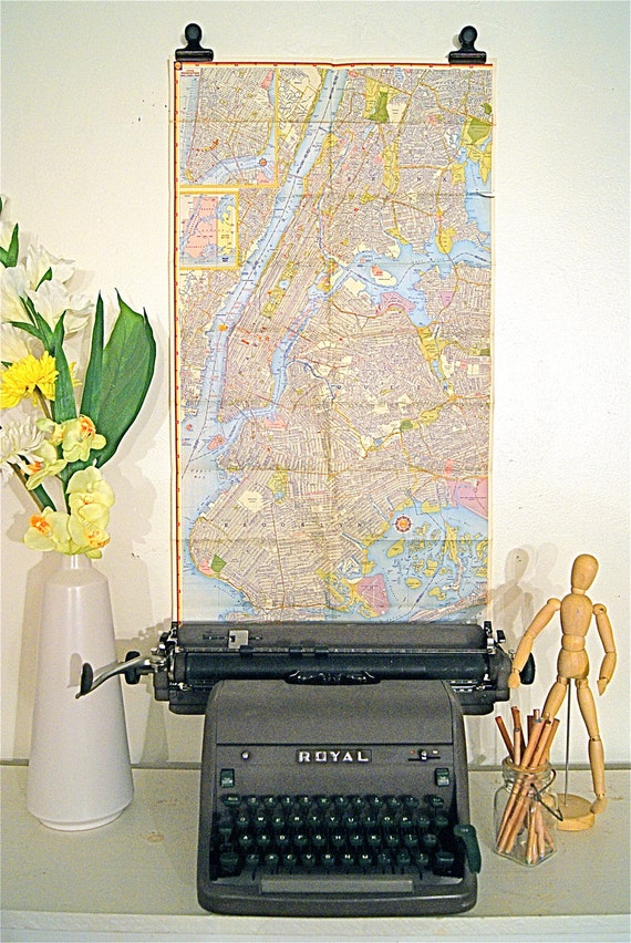 1960's New York City Road Map Wall Art
