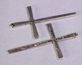61mm x 36mm antique silver cross charm pendant - 5 pieces (720)